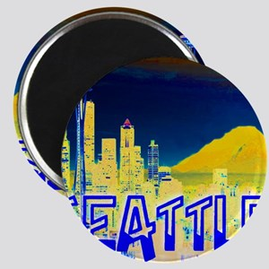 Seattle Washington Golden Skyline Magnet